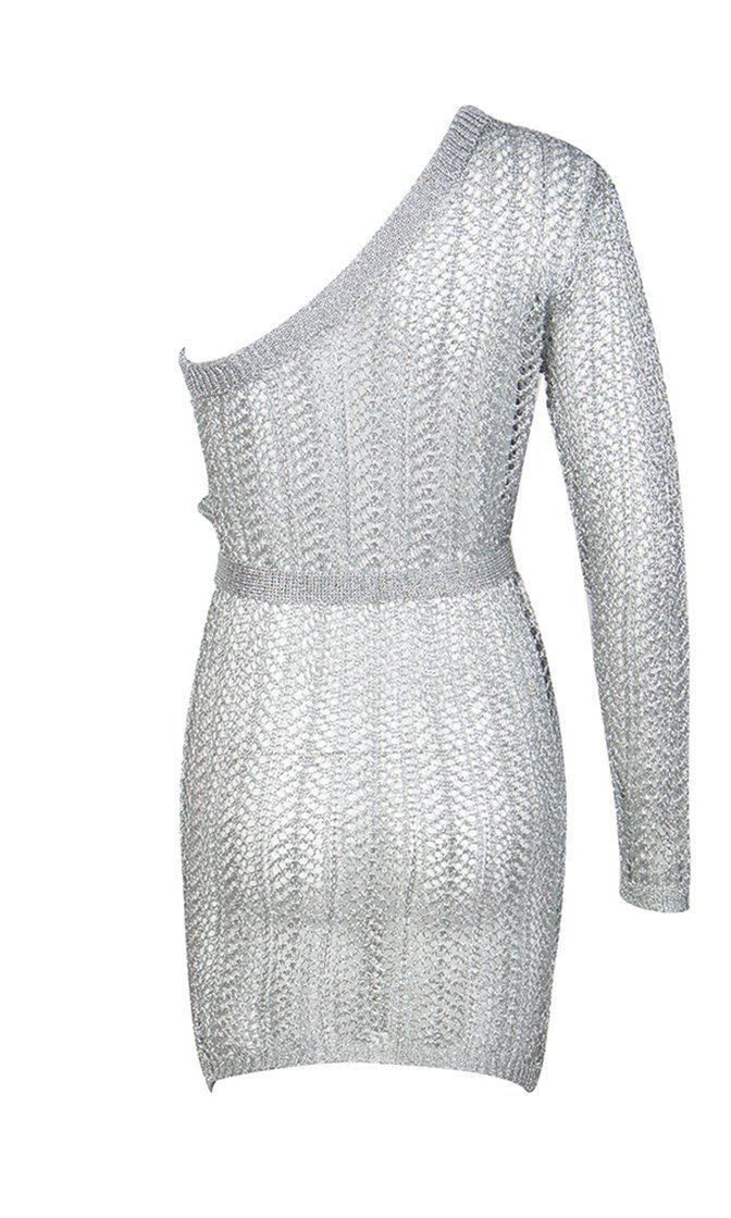 736c4c117 Bad Ideas Silver Metallic Sheer Crochet Lace One Shoulder Long Sleeve –  Indie XO