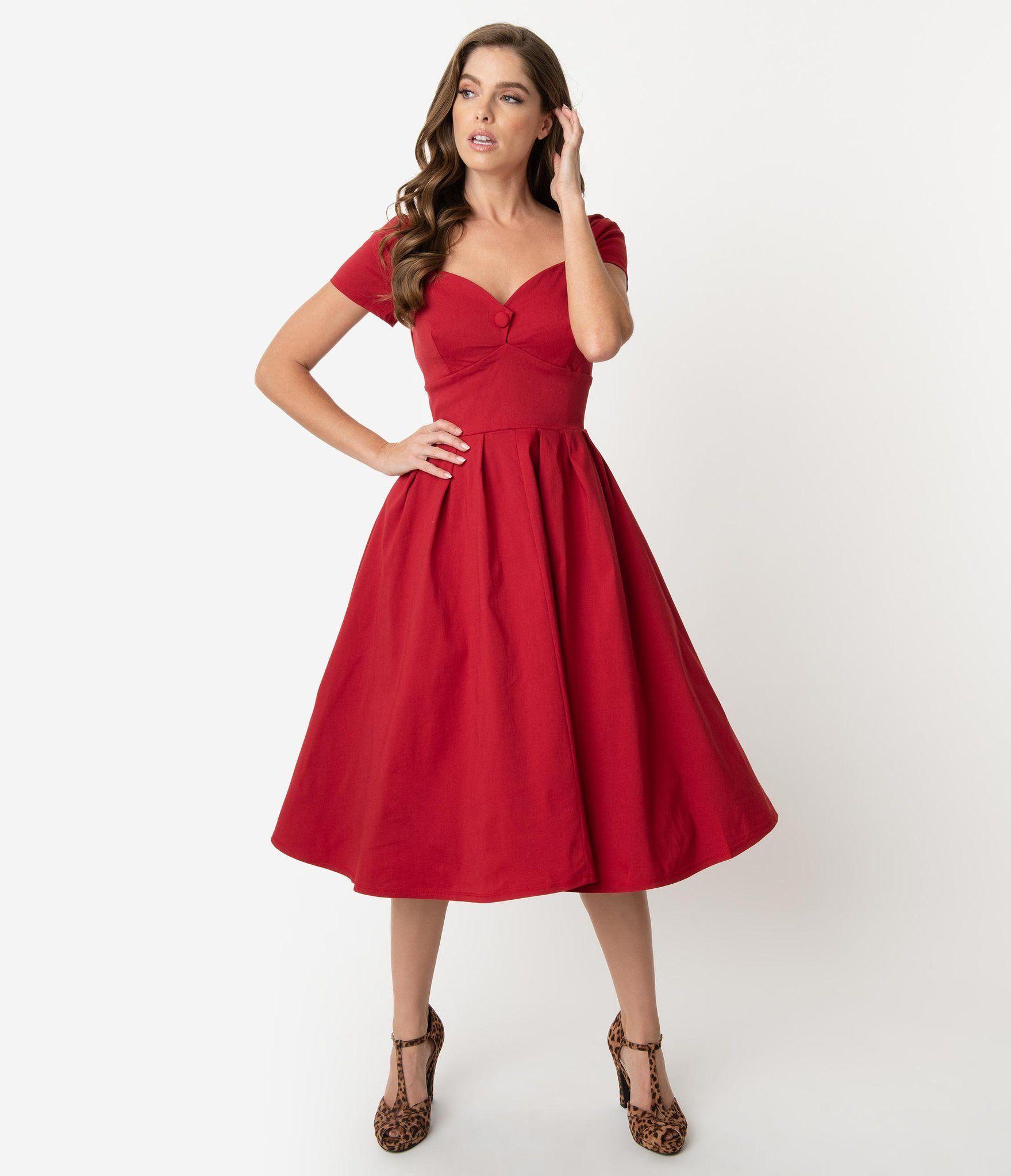 Unique Vintage 1950s Red Sweetheart Midge Swing Dress Vintage Red Dress Swing Dress Vintage Dresses [ 2048 x 1759 Pixel ]
