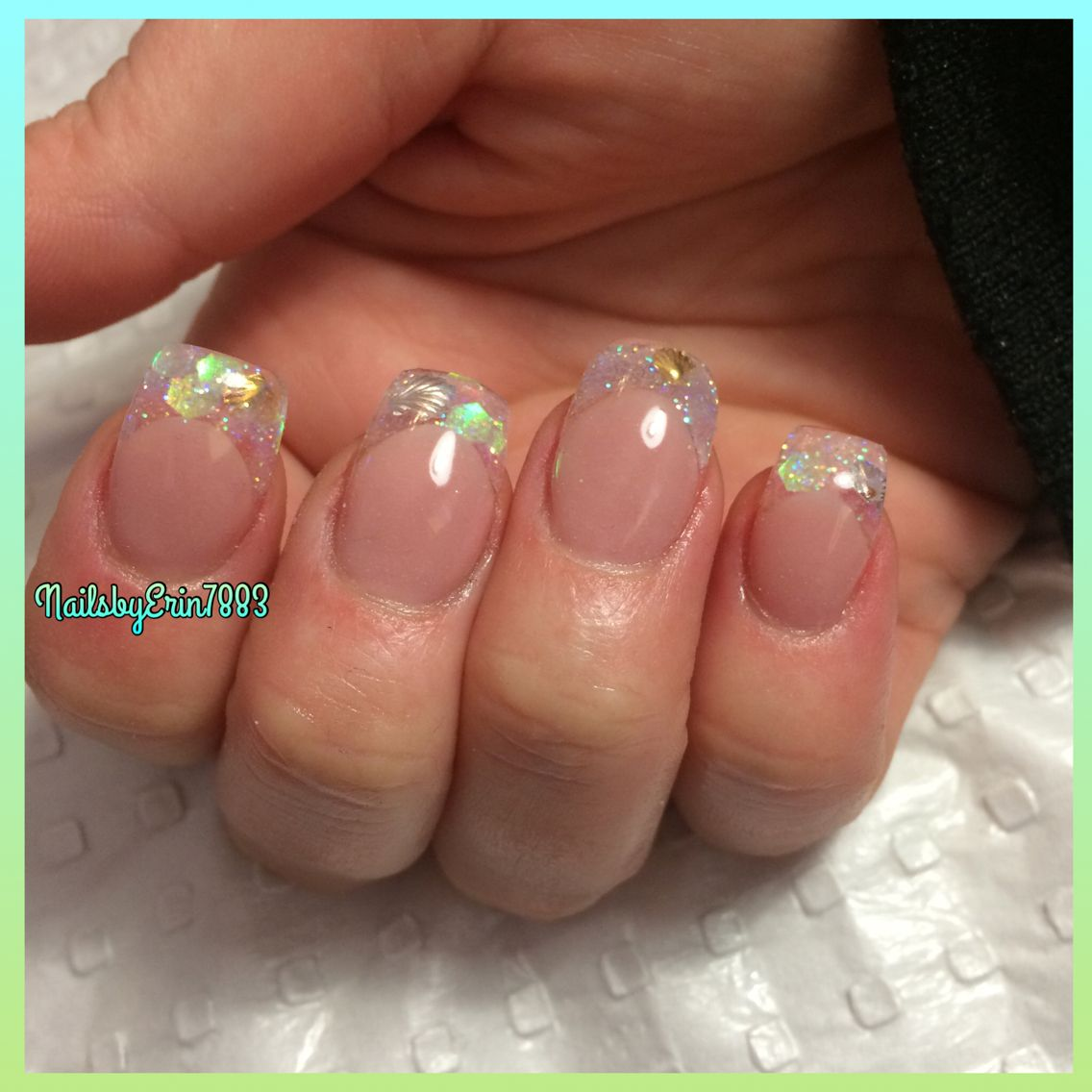 Beach Themed Sculpted Acrylic Nails With Fine And Chunky Glitter And Seashells Nail Art Chunky Glitter Nails Seashell Nails Almond Shape Nails