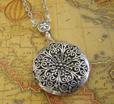 Silver Round Locket Necklace Wedding Bride by BackstreetCreations