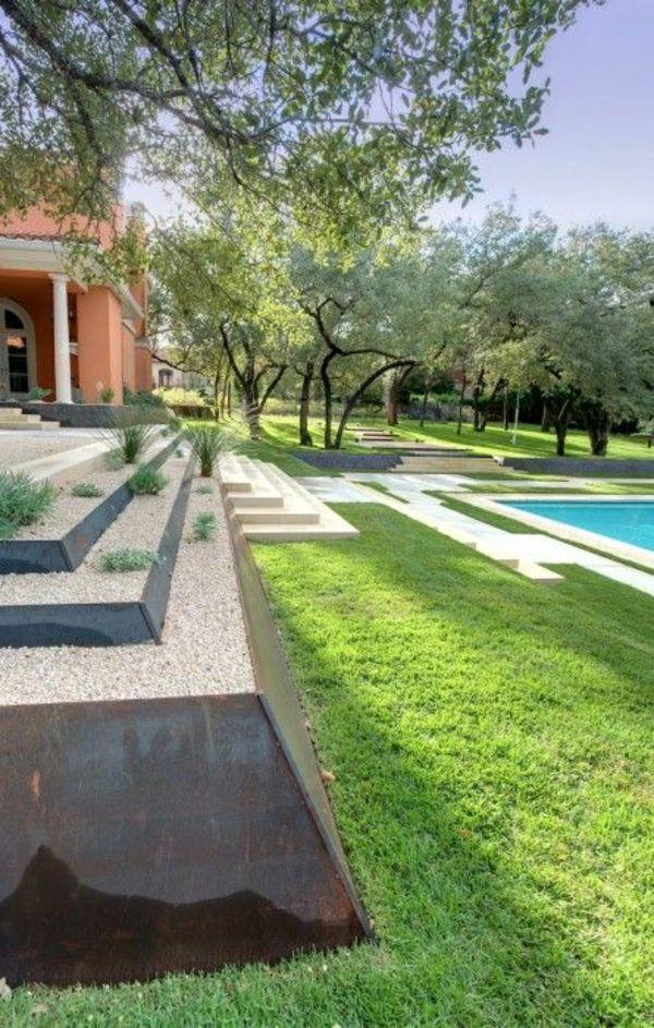 beispiele für moderne gartengestaltung stufenförmig pool rasen - moderne gartengestaltung mit pool