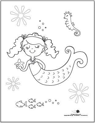 simple mermaid coloring pages - Google Search   Mermaid ...