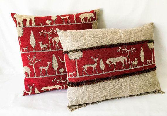 Tribal print pillow- Red tan pillow- Elephant pillow- Handmade pillow- African style pillow