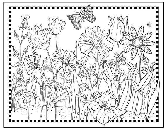 Garden coloring pages, Colorful garden, Flower garden ...
