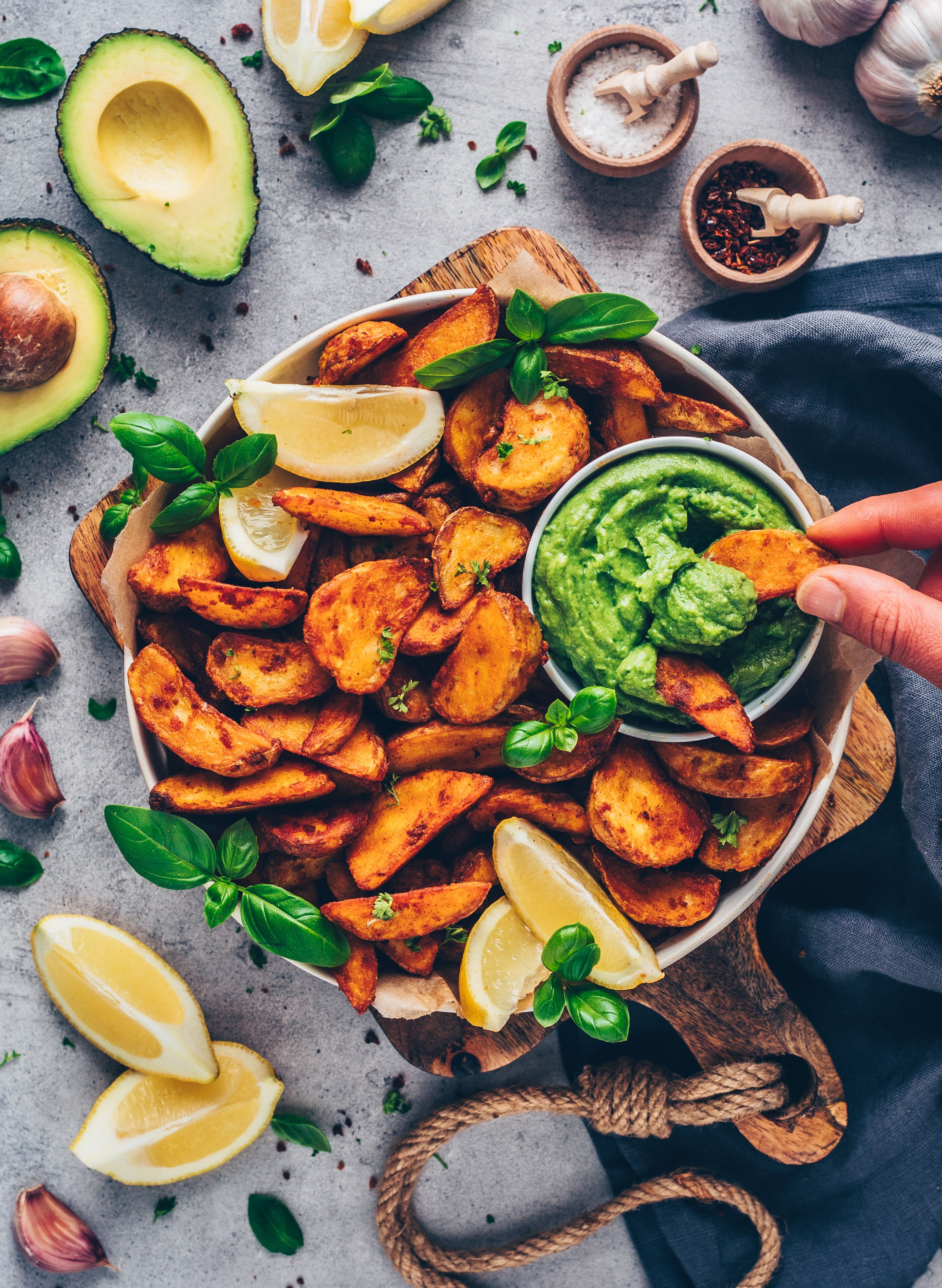 Crispy Potato Wedges with Guacamole