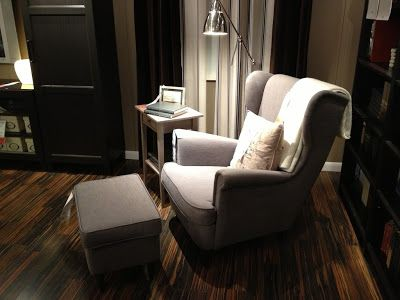 ikea strandmon wing chair gray looks nice against the wood floor but the dark blue might. Black Bedroom Furniture Sets. Home Design Ideas