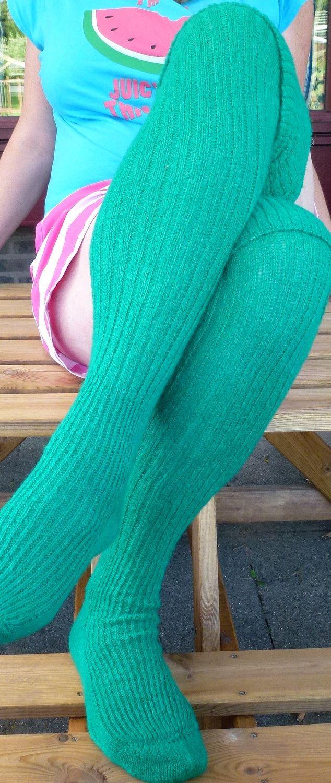 ec5b8f85310 Thigh high - KNITTED WOOL socks - Better than leg warmers - extra long - 30  cm foot 120 cm leg - EUn43 - Emerald green - fluffy.. £30.00