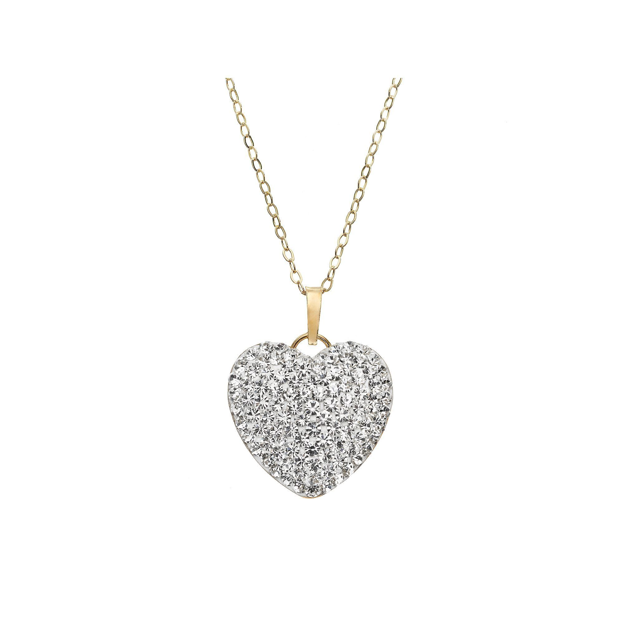 Crystal 14k gold bonded sterling silver puffed heart pendant crystal 14k gold bonded sterling silver puffed heart pendant necklace womens white aloadofball Images