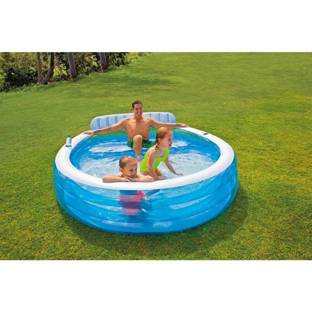 Intex Swim Center Inflatable Family Lounge Pool With Built In Bench And 8 Ft Cover 57190ep 28020e The Home Depot Family Lounge Pool Pool Lounge Family Inflatable Pool