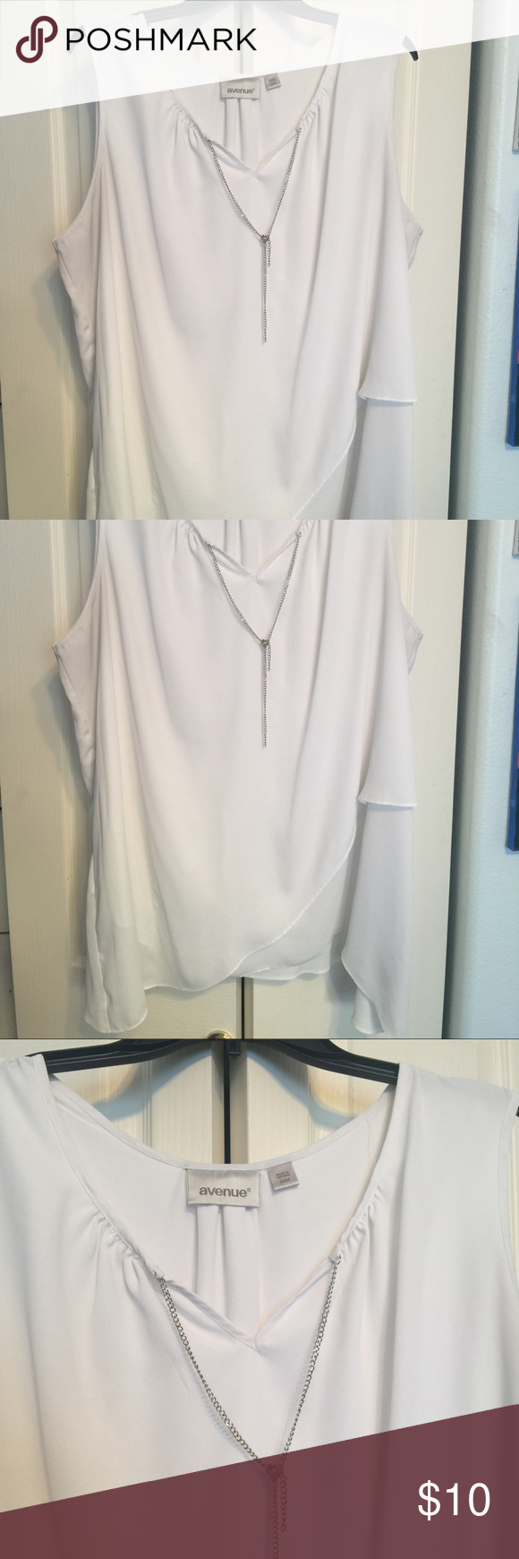 Avenue white sleeveless blouse Feminine white blouse with mock necklace.  Crisscross bottom.  Gently used.  Very light and flowing. Perfect for summer! Wear with jeans or under a blazer for office. Avenue Tops Blouses