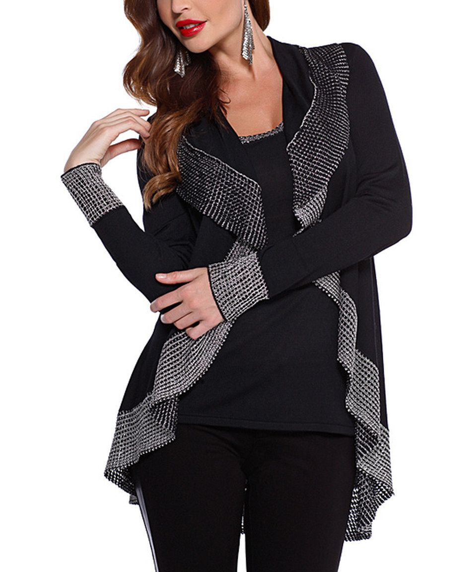 This Belldini Black & Silver Waterfall Open Cardigan by Belldini ...