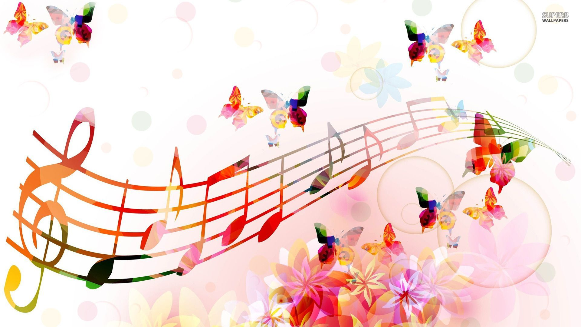 Colorful Music Notes Background Wallpaper High Resolution