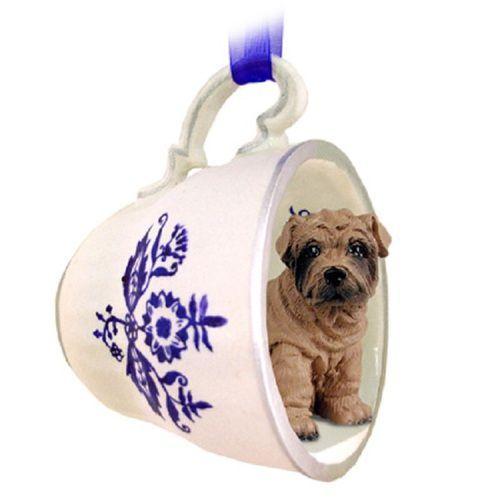 Shar Pei Brown Dog Tea Cup Blue Decorative Pet Ornament