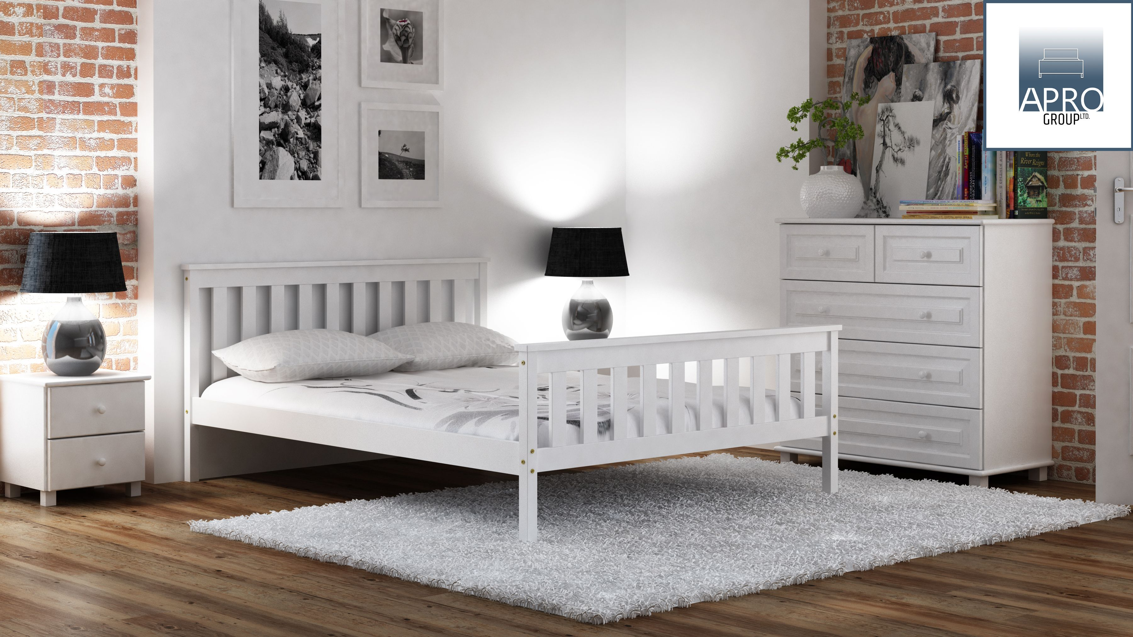 Details about Pine Wood Bed White 4ft Small Double 120x190cm Teen ...