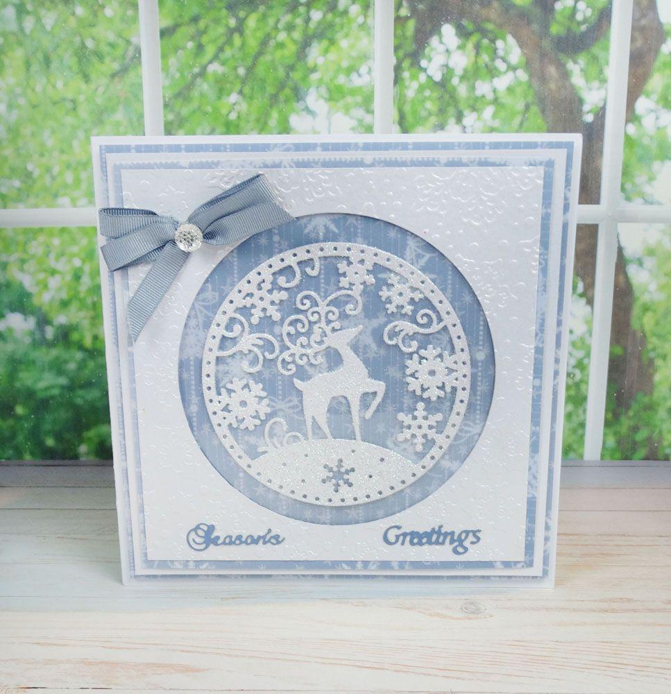 Snowglobe Reindeer (D106) | Tattered Lace | Cards | Pinterest ...