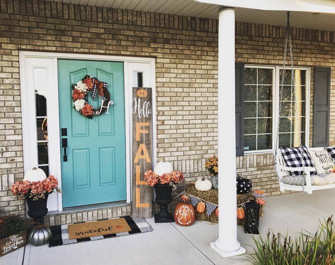 Happy Fall Front Porch Decor. #Kirklands  Fall front porch decor