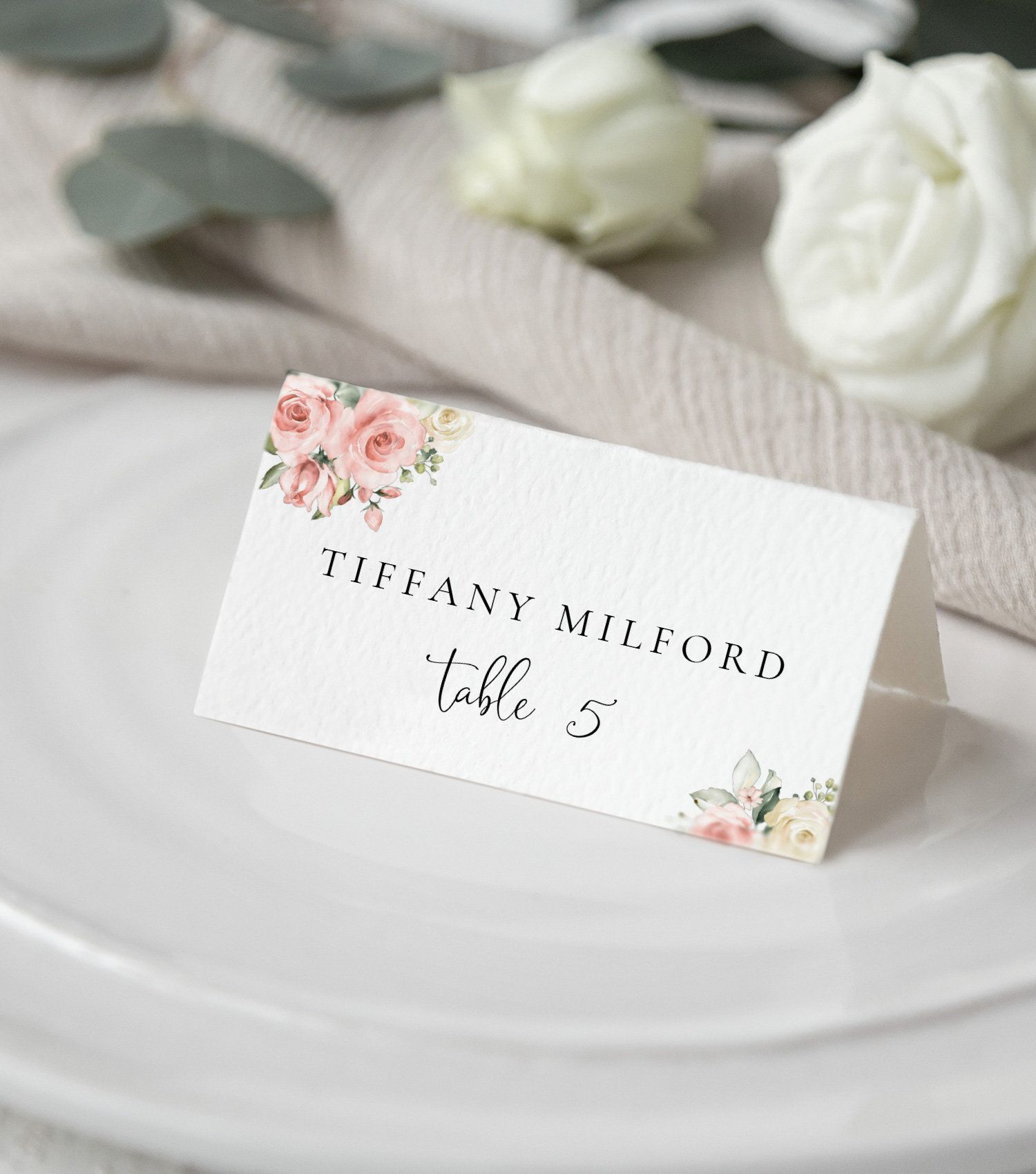 Wedding Place Card Template With Watercolor Light Pink Roses Etsy In 2021 Wedding Place Card Templates Wedding Place Cards Place Card Template