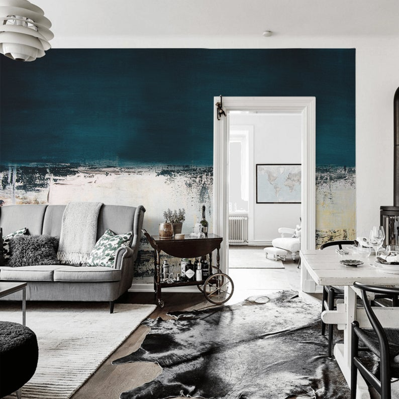 Grunge Blue Wall Mural Abstract Painting Peel Stick Etsy In 2020 Blue Walls Nursery Wall Murals Mural