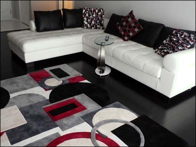 Black White Contemporary Grey And White Rug White Rug Interior Rugs