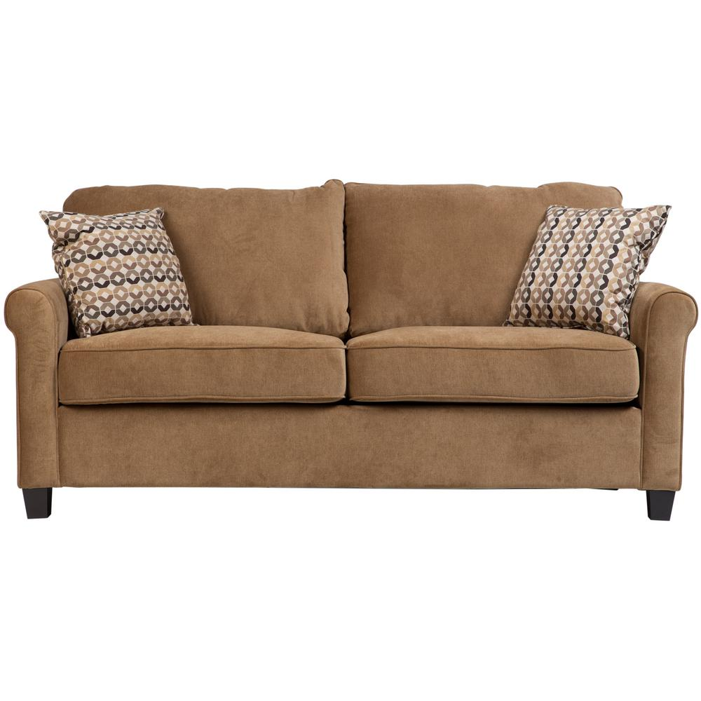 - Porter Designs Serena Khaki Plush Microfiber Full Sleeper Sofa