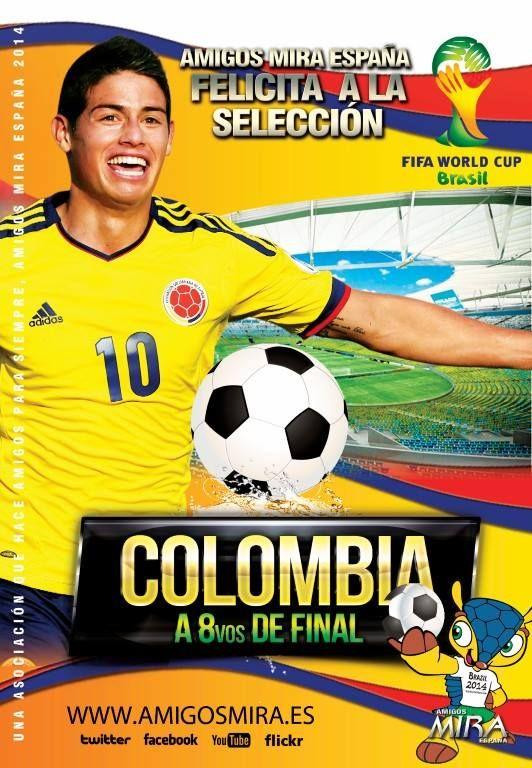 #AmigosMiraEspaña felicita a la @FCFSeleccionCol por el excelente papel que viene realizando en el #MundialBrasil2014