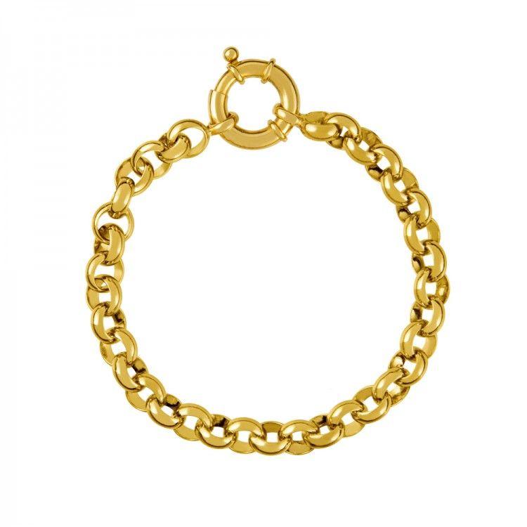 3f3e1bfec099 Pulsera roló con eslabones redondeados pequeños en plata oro amarillo