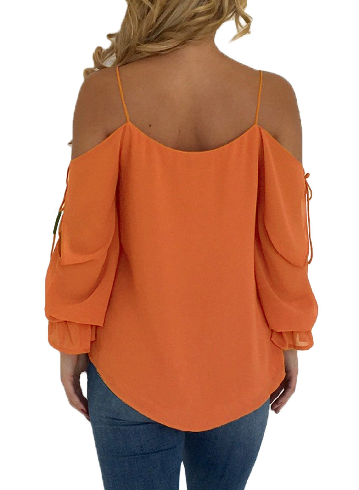 e5c33d663c1a2c Blibea Womens Spaghetti Strap Loose T Shirts Off Shoulder Blouse Long  Flared Ruffled Sleeve Shirts Elegant