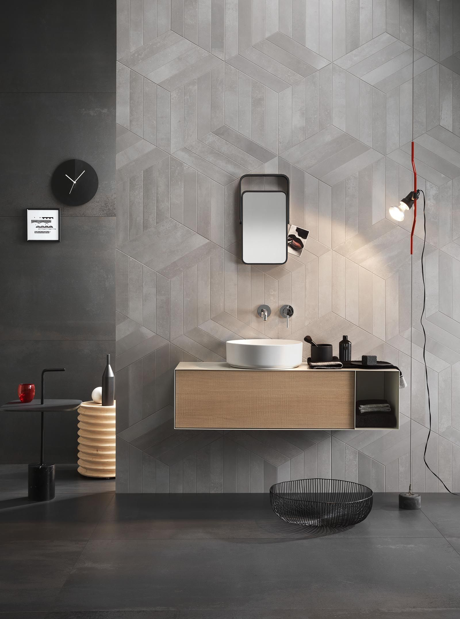 Metal Effects Large Format Tile Tiles Lighted Bathroom Mirror