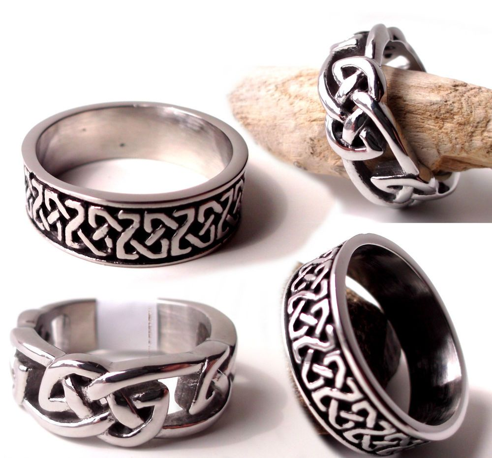 Details about Mens Celtic Ring Thumb Knot Wedding Band