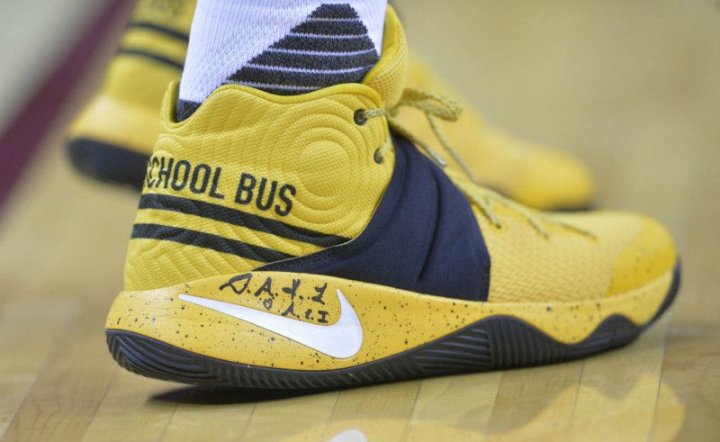 56c382615417 Kyrie Irving Has His Own Pair Of The Nike Kyrie 2 School Bus Kyrie Irving  Shoes