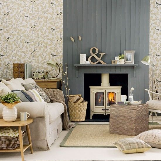 Living Room With Panelled Chimney Breast Traditional