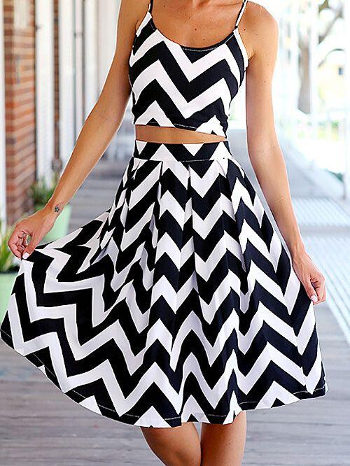 437cdf2d3e3 Fabulous Black   White Chevron Print Exposed Back Zipper Crop Strap Top  with Midi A-line Skirt