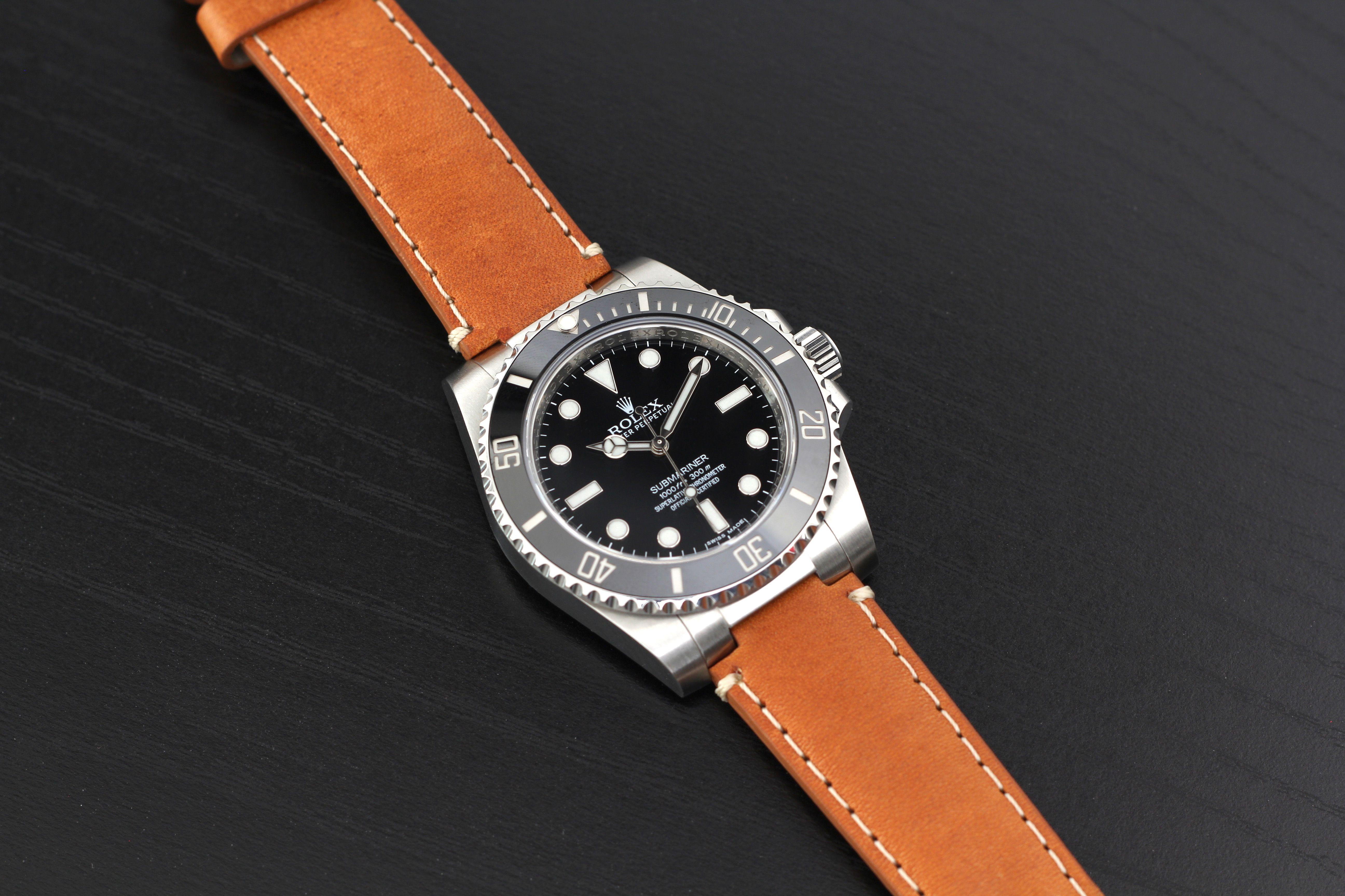 Everest Leather Watch Strap For Rolex Submariner Watch Bands Rolex Leather Watch Strap