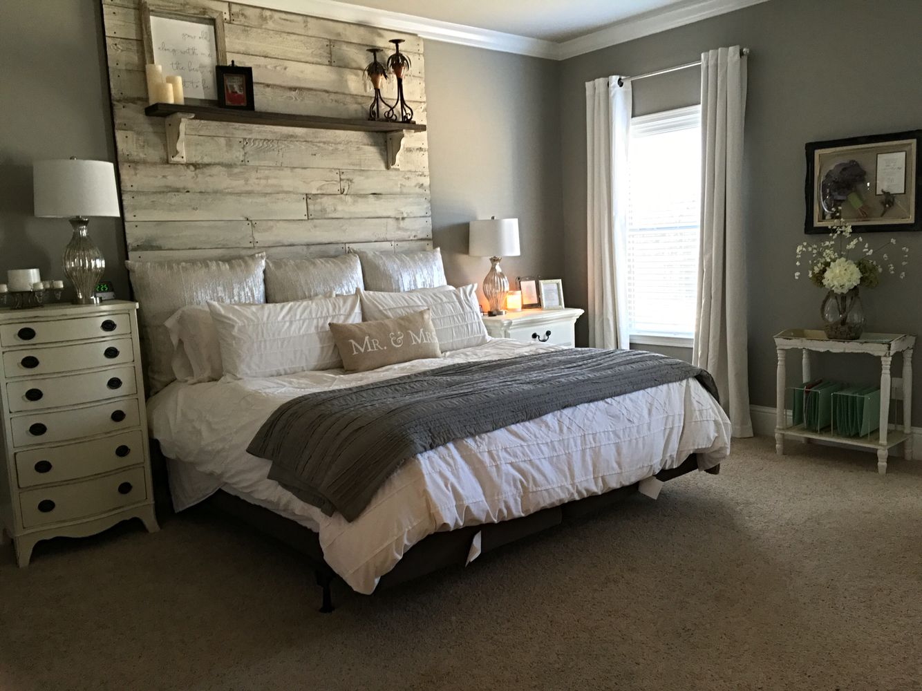 Master Bedroom Sherwin Williams Dorian gray walls and Sherwin Williams  worldly gray ceiling. And our custom floor to ceiling headboard complements  of my ...