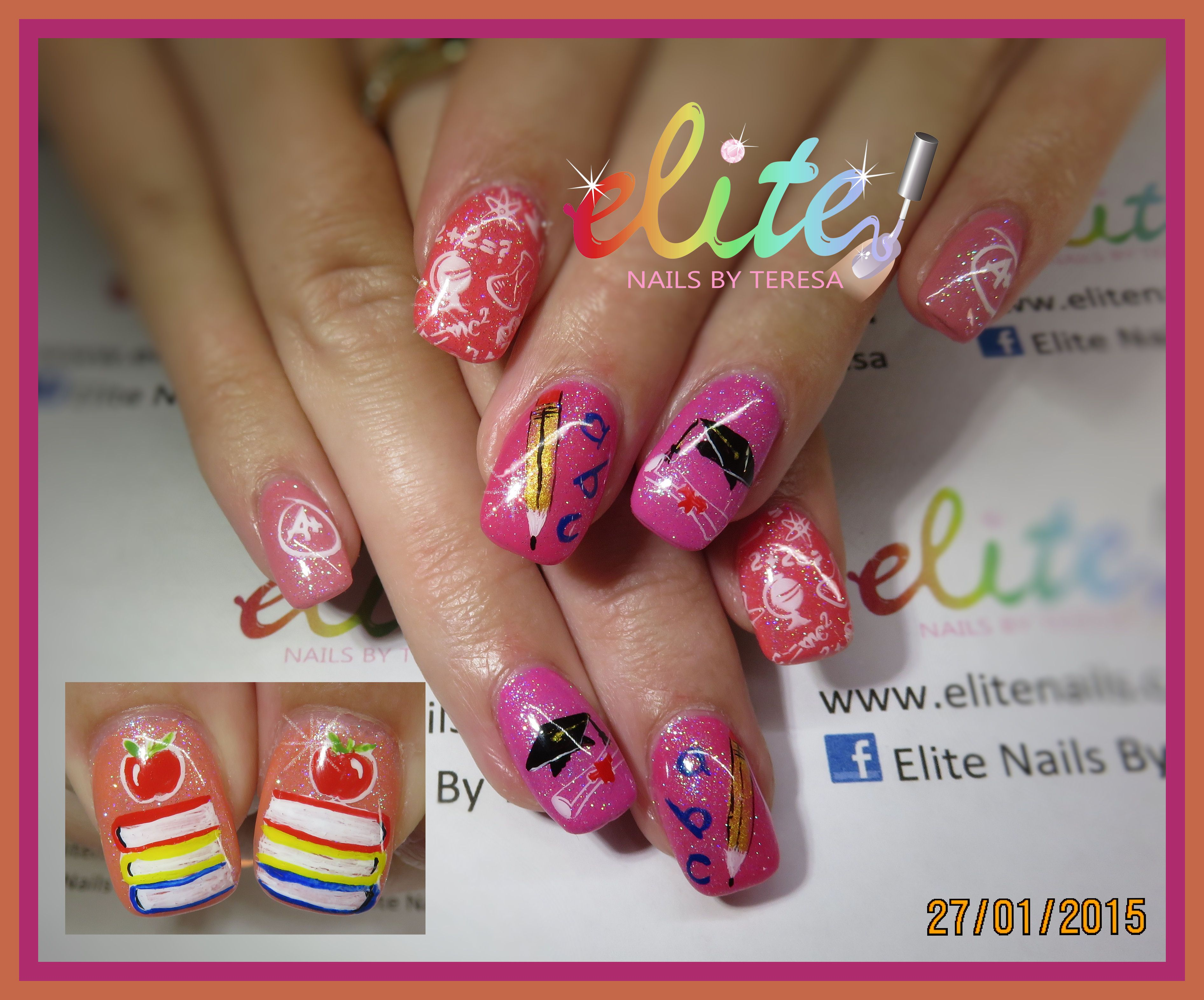 Back to school books apple pencil abc maths pink nails nail art ...