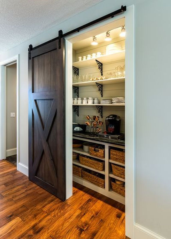 42 Inspiring Sliding Barn Door Ideas Homyhomee Rustic Pantry Door Rustic Pantry Small Kitchen Pantry