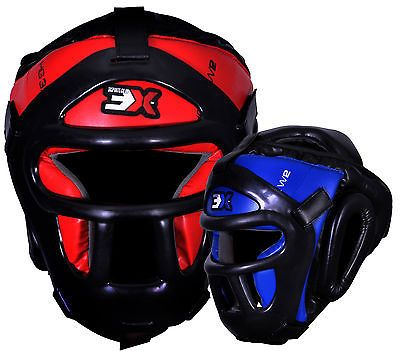 3X Sports Grill Head Guard Bar Helmet Thai Kick Boxing Martial Arts MMA Headgear