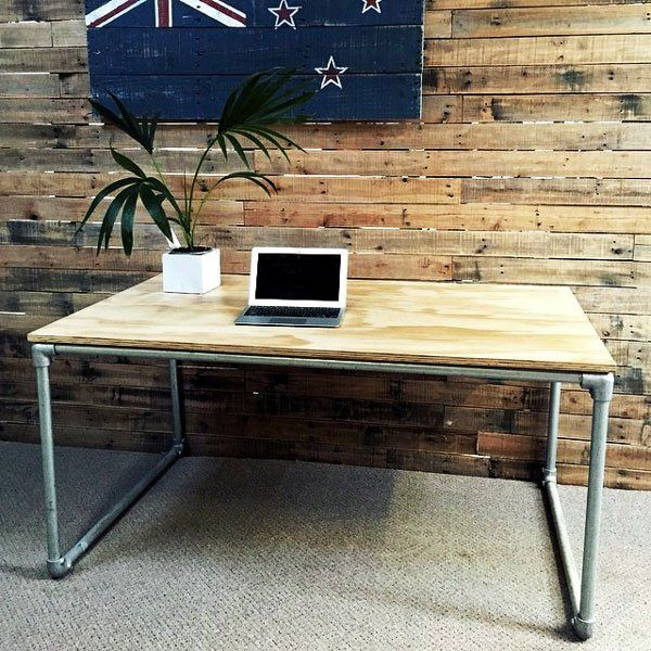 Diy Plywood Desk With Pipe Frame Plans To Build Your Own Keeklamp Pipedesk Pipefurniture