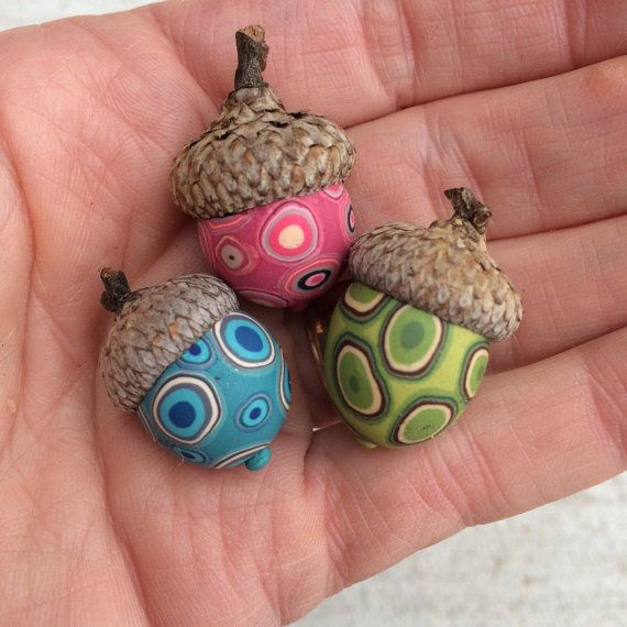 Small Decorative Acorns Set Of 3 Polymer Clay Natural Acorn Top