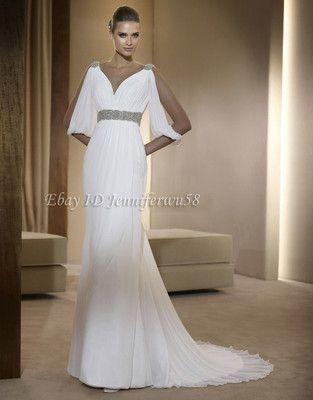 Elegant Long sleeve Beaded Wedding dress Bridal gowns Evening dress ...