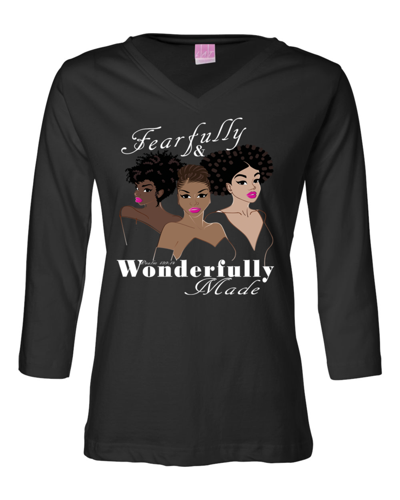 Fearfully and Wonderfully Made II Classic Fit 3/4 Sleeve (V-Neck) Christian T-Shirt