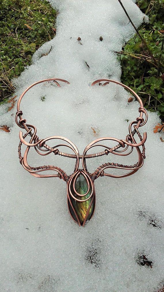 Copper wire fantasy necklace with Labradorite,Copper wire necklace ...