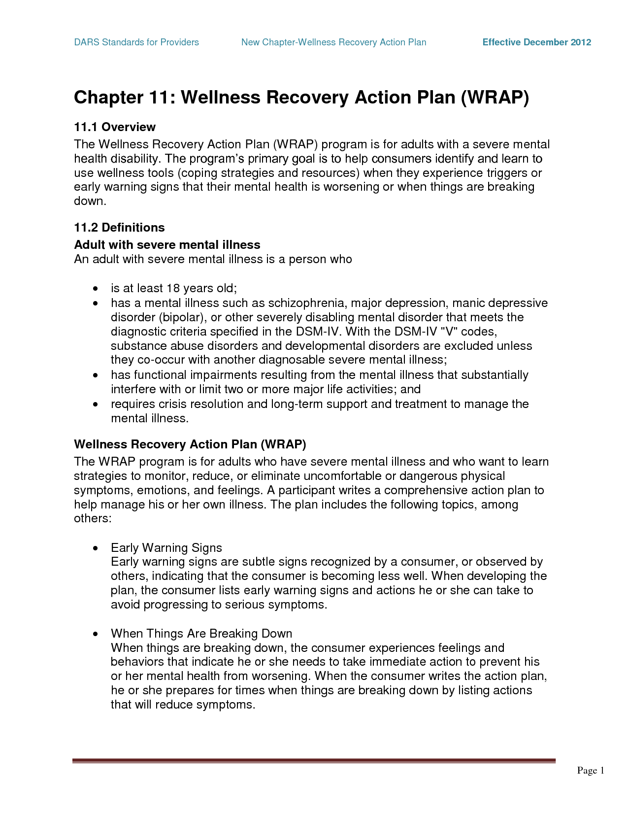 Wrap Mental Health  Chapter  Wellness Recovery Action Plan