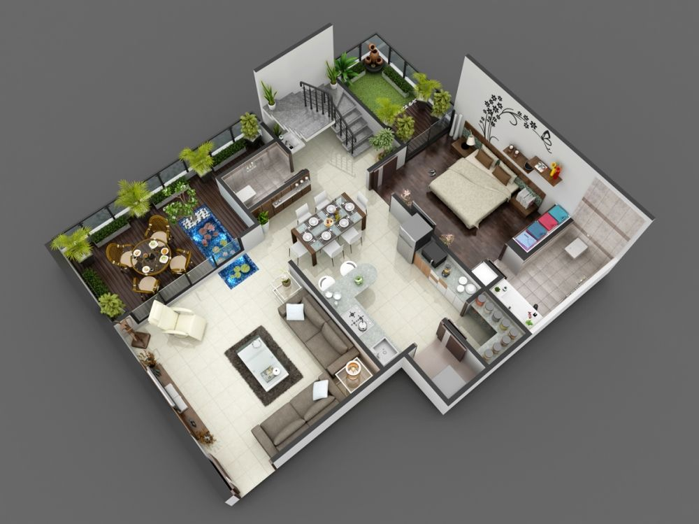 3d Laxurious Residential Floor Plan Architectural Floor Plans Rendered Floor Plan Floor Plans