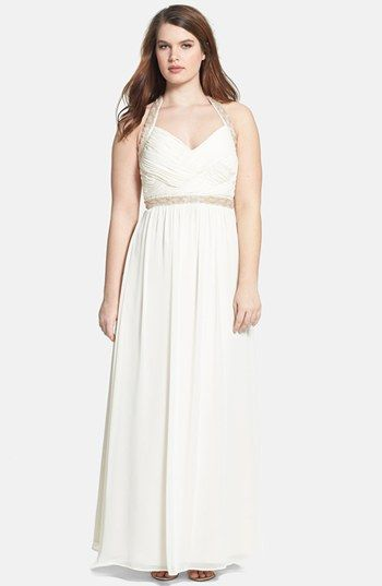 Calvin Klein Embellished Chiffon Halter Gown Available At Nordstrom