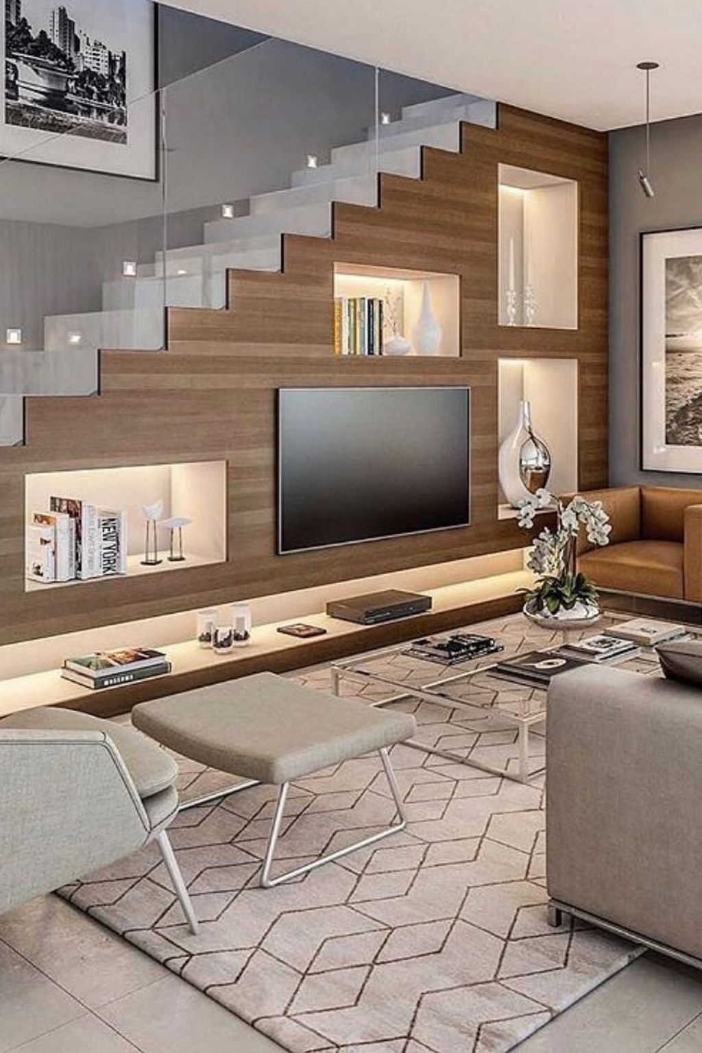46 Outstanding Stair Design Ideas That Are Right For Your Living | Living Room Design Under Stairs | Kid | Space Saving | Luxury Modern | Small Space | Storage