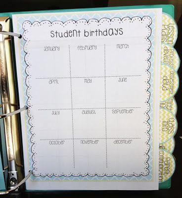 Teacher Binder for next year (lesson plans, calendar, parent
