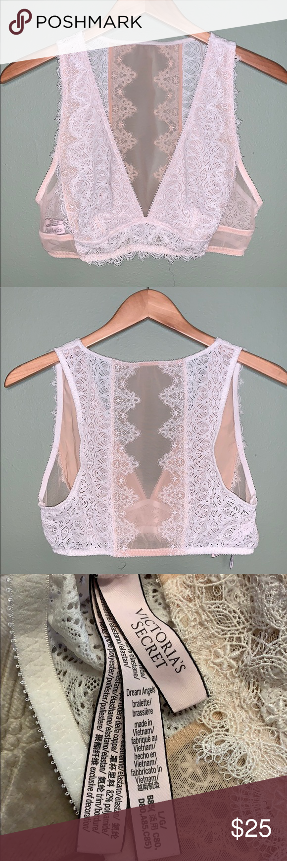Victoria/'s Secret Dream Angels Lace-Up Bralette Sheer Crochet Coconut White S