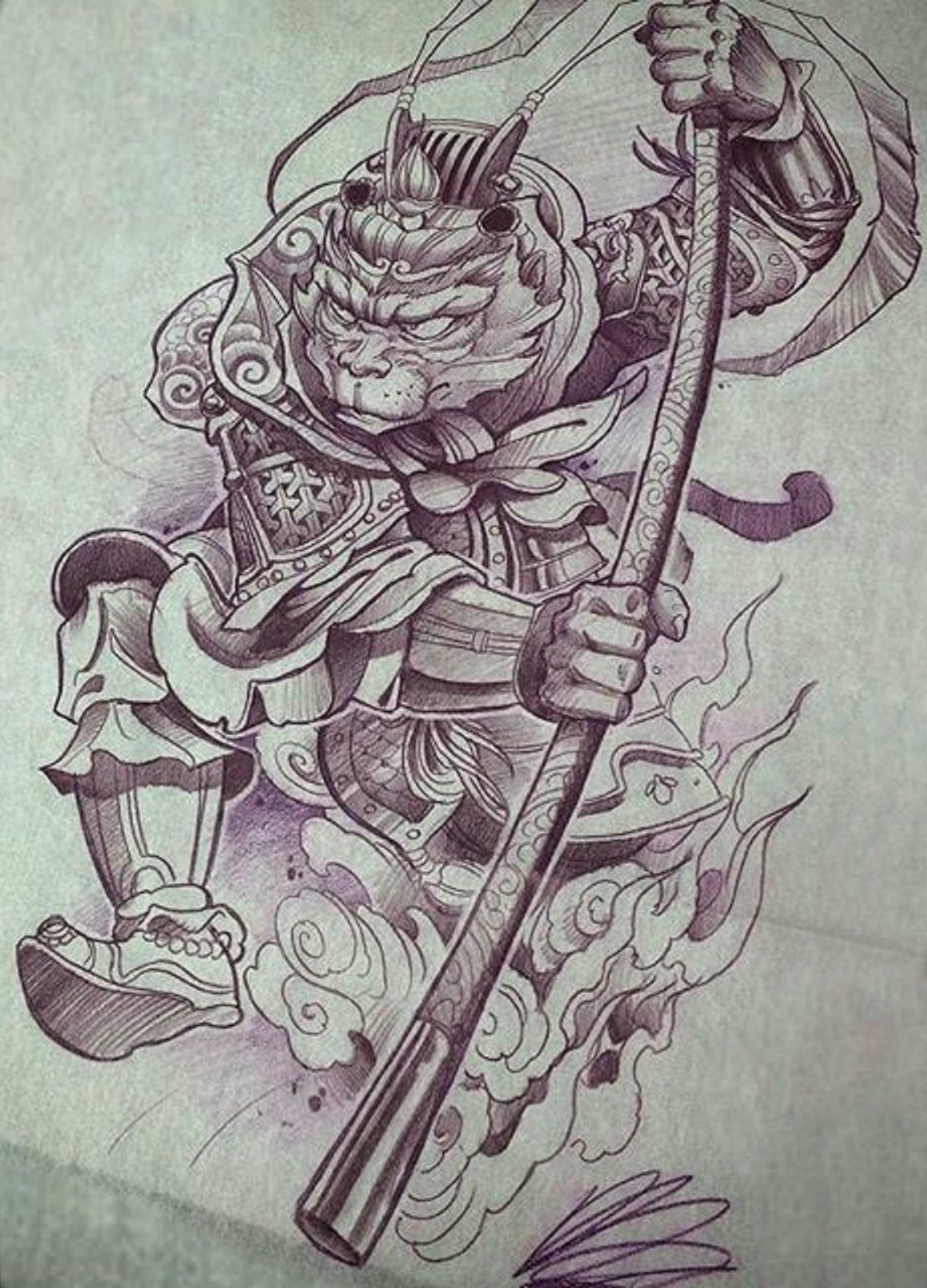 monkey king tattoo design tattoos pinterest king tattoos monkey king and tattoo designs. Black Bedroom Furniture Sets. Home Design Ideas