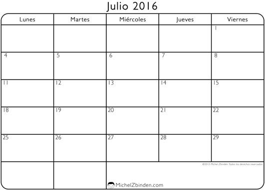 Calendario  Julio Para Imprimir  July Calendar Printable